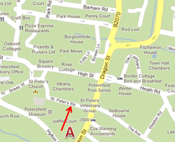 Petersfield Bowling and Snooker Club Location Map